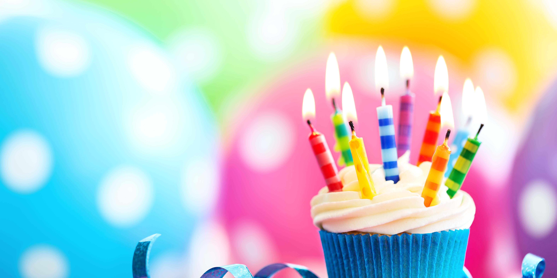 Colorful birthday cupcake
